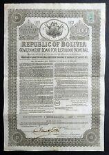 1872 Republic of Bolivia: £100 Government Loan