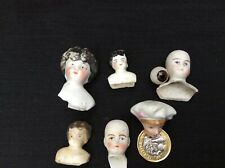 Vintage Bisque/ Porcelain Doll Heads And Single Glass Eye