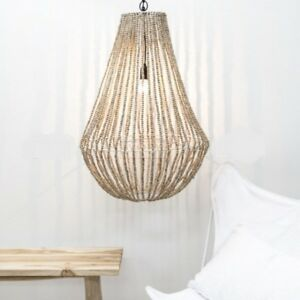 Large HIGH QUALITY BASKET STYLE  NATURAL WOODEN BEADED CHANDELIER -56W X 85H CM