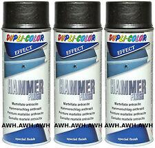 3x400ml Hammerschlag Lackspray Schutzlack Metallschutzspray Effektlack Anthrazit