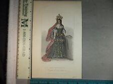 Rare Antique Original VTG 1844 Lady Mary Tudor, C Cook Engraving Art Print