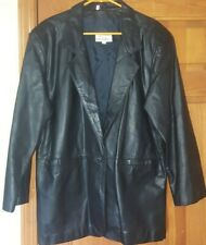 Leather By Tibor Leather Coat Black w/ Black Lining Mens Large