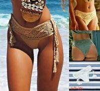 Women Openwork Mediterranean Grid Crochet Shorts Bikini Bottom Tassel Hot Pants