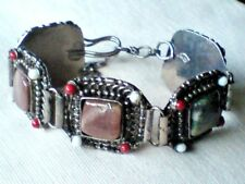 """INDIAN SILVER HANDMADE 1.25"""" WIDE BRACELET with 5 NATURAL AGATE STONES £6.99 NWT"""