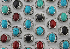 Wonderful Mixed color Lots 35pcs Turquoise stone Silver Plated Vintage Big Rings