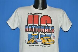 vtg 70s NHRA US NATIONALS 22ND ANNUAL INDIANAPOLIS 1976 WORLD FINALS t-shirt M