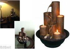 Table Top Fountain w/ 3 Candle Tiered Column Water Flow Waterfall Decor Electric