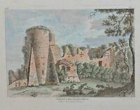 1784 con Fecha Estampado ~ Godrich Castillo Herefordshire Pintado a Mano