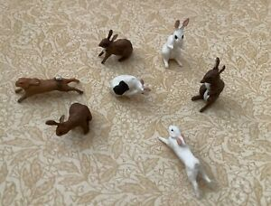 7 miniature dolls house rabbits
