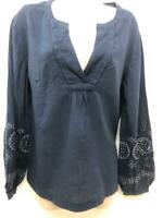 NEW RRP £39 Ex Wraplondon Embroidered Cotton Blouse IN BLUE  (SS96)