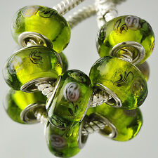 5pcs Silver Filled Olive lampwork Glass large hole Bead  charm Wrist Bracelet