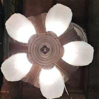 Antique c1930s Art Deco Five Light Markel Slip Shade Chandelier~Ceiling Light
