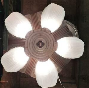 Antique c1930s Art Deco Five Light Markel Slip Shade Chandelier~Ceiling Light
