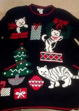 Cat Christmas Sweater Kittens Medium Cats kitty Cat Lady Nutcracker Ugly Cute