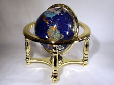 "10"" Tall Table Blue Crystallite Ocean Gemstone World Globe with zinc alloy stand"
