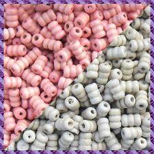 100 Perles Bois Tube 2 coloris Rose / Ecru