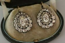 White Pear Double Round Halo CZ Vintage Style Handmade Fine Earrings for Women