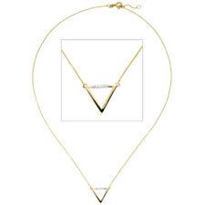 Collier Halskette Dreieck 585 Gold Gelbgold 5 Diamanten Brillanten 42 cm Kette.