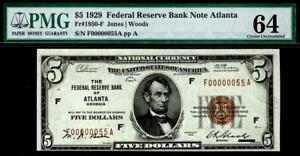 "1929 $5 Federal Reserve Bank Note ((Low Serial ""55"")) Binary 00000055 PMG 64 CU"
