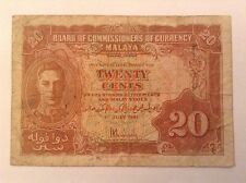 Malaya Banknote. 20 Cents. Dated 1941.