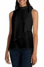 Vince Camuto Womens Knit Top Black Size Small S Tie Neck Sleeveless $79 293