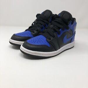 Nike Air Jordan 1 Mid Black Hyper Royal Blue PS Size 12c 640734-077
