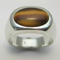 Natural Tiger's Eye Gemstone with 925 Sterling Silver Cluster Ring for Men's