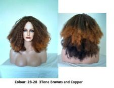 Afro Fizzy Full Volume Dark Brown, Sandy Blonde or 3Tone Brown/Copper Wig