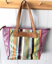 Fossil Handbag Multi Colored Striped Purse Organizer Medium Bag Water Resistant