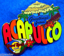 ACAPULCO MEXICO GREETINGS FROM SERIES GRASS BEACH HUT Hard Rock Cafe PIN LE