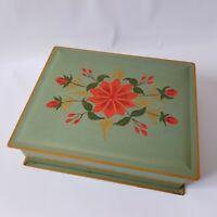 Vintage Hand Painted Green Floral Metal Tole Ware Box Folk Art Lidded Hinged