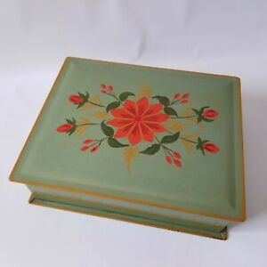 Vintage Hand Painted Green Floral Metal Tole Ware Box Folk Art Lidded Hinged