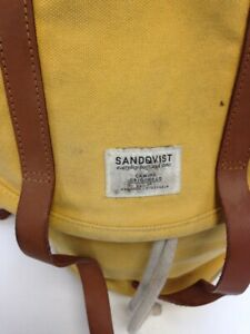 Sandqvist Stockholm Mustard Canvas Bag Used And Well Loved Tan Leather Buckles