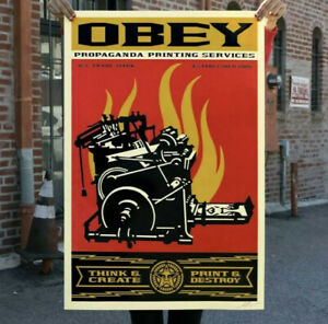 SHEPARD FAIREY PRINT AND DESTROY SIGNED OFFSET LITHOGRAPH OBEY
