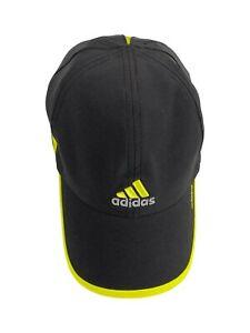 Adidas One Size Black Baseball Cap Hook and Loop Closure Adizero Neon Yellow
