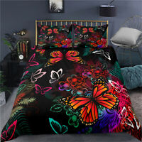 Butterfly Floral Doona Duvet Quilt Cover Set Single Double Queen King Bed Linen