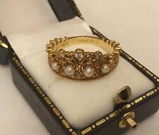 Franklin Mint Hallmarked 18ct 18k Gold Diamond Pearl Crown Tiara Ring Filigree