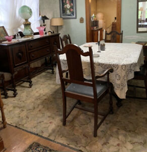 Antique Walnut Dining Room Set 6 Chairs, Table, Buffet & China Cabinet