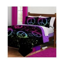 Peace Sign Bedding Set Teen For Girls Full Comforter Bed Sheets Reversible 7pc