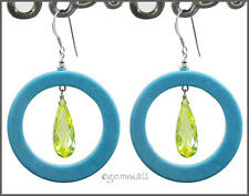 Turquoise(Syn.) Dangle Donut Earrings CZ Peridot #65189