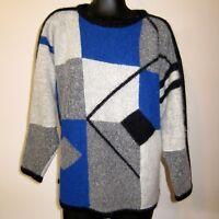 90s Vtg M Color Block Sweater Oversized Dolman Sleeve Boat Neck Angora Cashmere