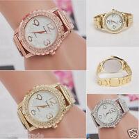 Women's Mens Crystal Stainless Steel Band Analog Quartz Luxury Dress Wrist Watch