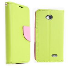 CoverON® for LG Optimus L70 / Exceed 2 Green & Pink Wallet Case Flip Pouch Cover