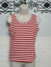 Land & Sea Knit Top Size M Multicolored Striped Sleeveless Vintage