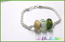 offerta bellissimo bracciale, perle vetro, verde, oro, fiore, regalo, natale