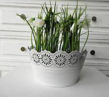 Übertopf Blumenübertopf mit Blumendekor Zink weiß  Tischdeko  Landhaus