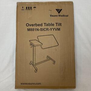 Vaunn Medical Adjustable Tilt Top Overbed Bedside Table for Home & Hospital Use