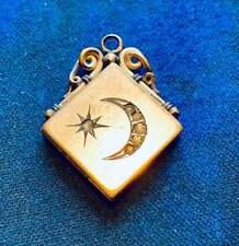 rhinestone Paste Stones Antique victorian #2 Crescent Moon Star Locket Gold fill