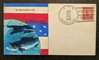 1941 Hand Painted USS Barracuda Submarine Weigand Portsmouth NH Naval Cover