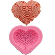 DIY Tool 3D Silicone Flower Heart Shape Fondant Cake Mold Soap Candle Mold Jia6